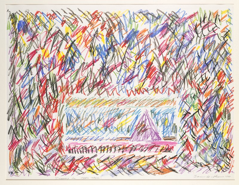 Expressionist sketch of quickly drawn, overlapping lines in red, blue, orange, yellow, green, purple and pink; the lower half of the composition consists of a smaller rectangular drawing characterized by the same lines and a predominantly light blue center