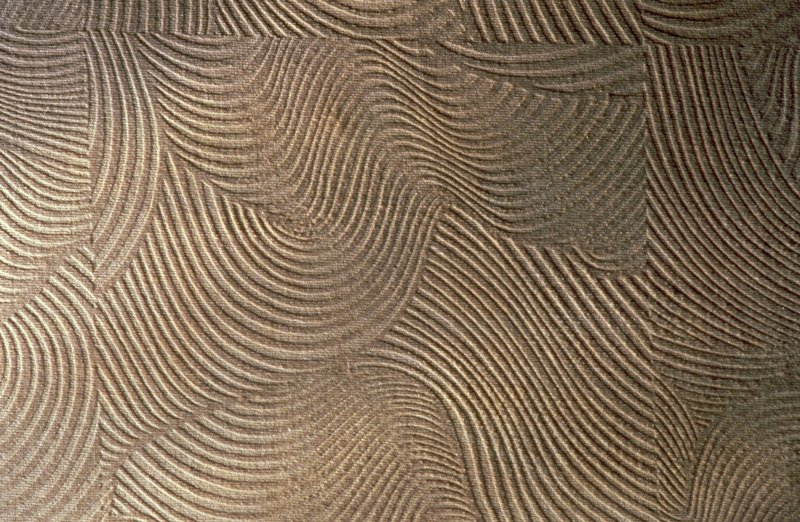 """Pattern of swirls within squares. Pattern repeat 35"""" Devoré. Oyster. Oyster"""