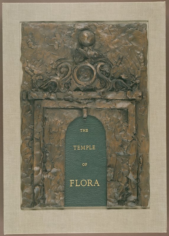 "Bound in boards with green goatskin spine and grey-green cloth sides; enclosed in a grey-green cloth box with inset bas-relief ""Flora's Temple Gate"" by Jim Dine, cast in bonded bronze, on the lid. Poetry by John Ashbery, Richard G. Barnes, Hart Crane, Robert Creeley, E. E. Cummings, Hilda Doolittle, Robert Graves, Thom Gunn, Robert Hass, Andrew Hoyem, Ronald Johnson, Denise Levertov, Josephine Miles, Frank O'Hara, Ron Padgett, Robert Pinsky, Sylvia Plath, Ezra Pound, Kenneth Rexroth, James Schuyler, Edith Sitwell, Wallace Stevens, Philip Whalen, Jonathan Williams, and William Carlos Williams"