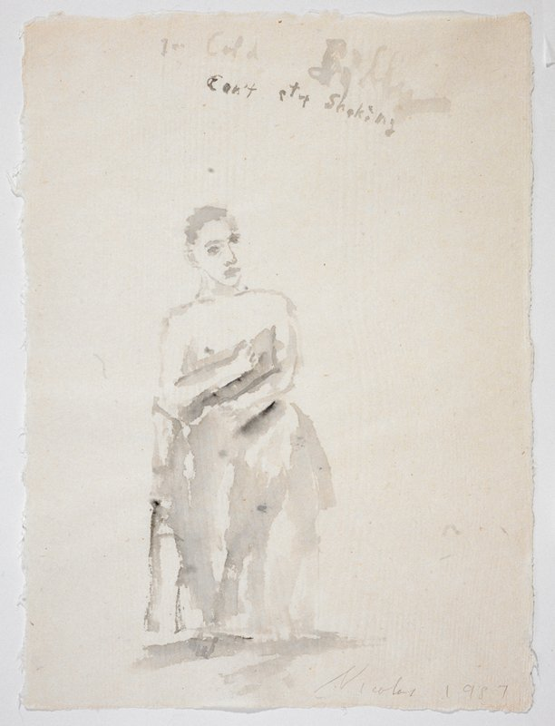 """Man in full view wearing nothing but a towel around his waist; he stands facing in the direction of the viewer; the words """"I'm Cold Billy/Can't Stop Shaking"""" scrawled in UR quadrant"""