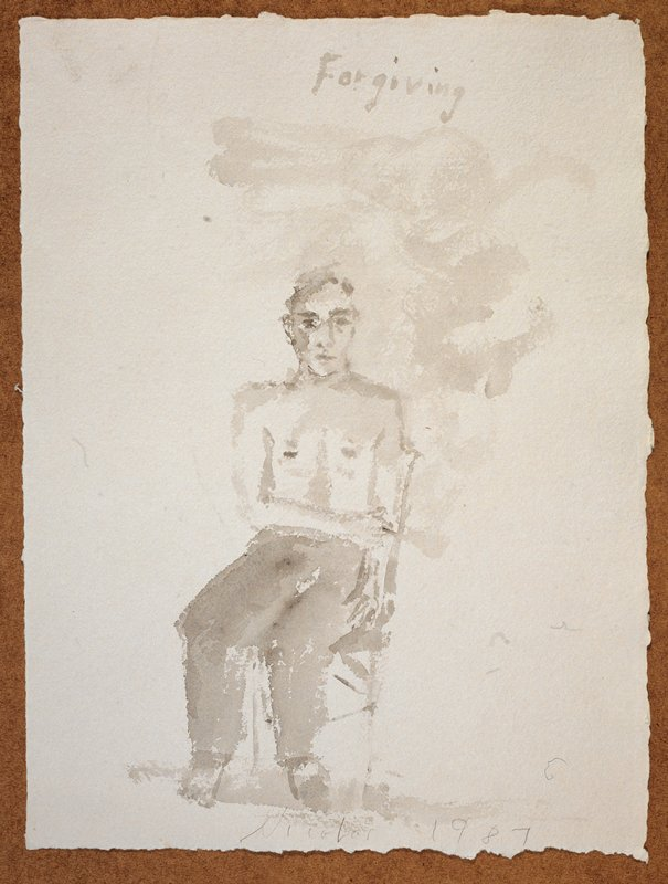 """Full length view of a man naked from the waist up; he faces forward in a chair, smokes a cigarette; his legs turned slightly to the right; the words """"Forgiving"""" scrawled in UR quadrant"""
