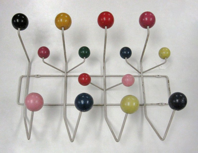 hanging rack; wire structure with fourteen wood balls attached to projecting wires; wood balls painted various colors