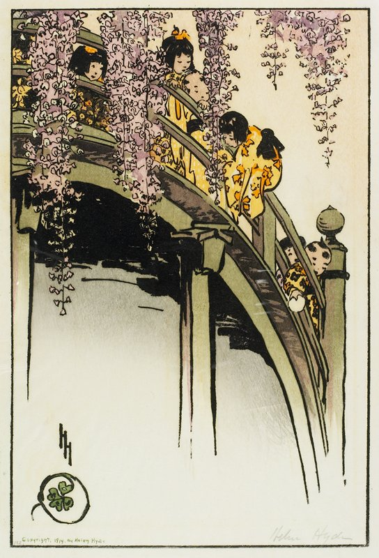 steeply curving green bridge; six Asian children dressed in yellow and black play on bridge; branches thick with purple blossoms hang down from top edge