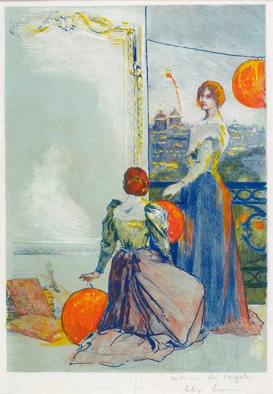 one standing woman and one kneeling woman, hanging large round orange lanterns over a balcony; city scene with fireworks at R; books and artist's palette and brushes, LLC; pencil sketch of reclining nude on back- very small
