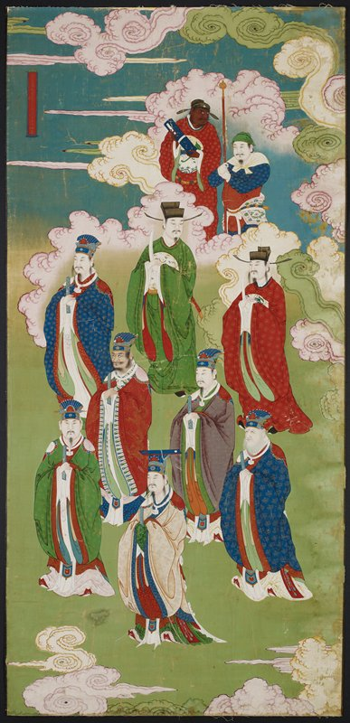 ten standing figures, each holding a fan (?) except two figures at top- one holds a scroll, other holds staff; green and blue ground; gold frame; glazed with plexiglass