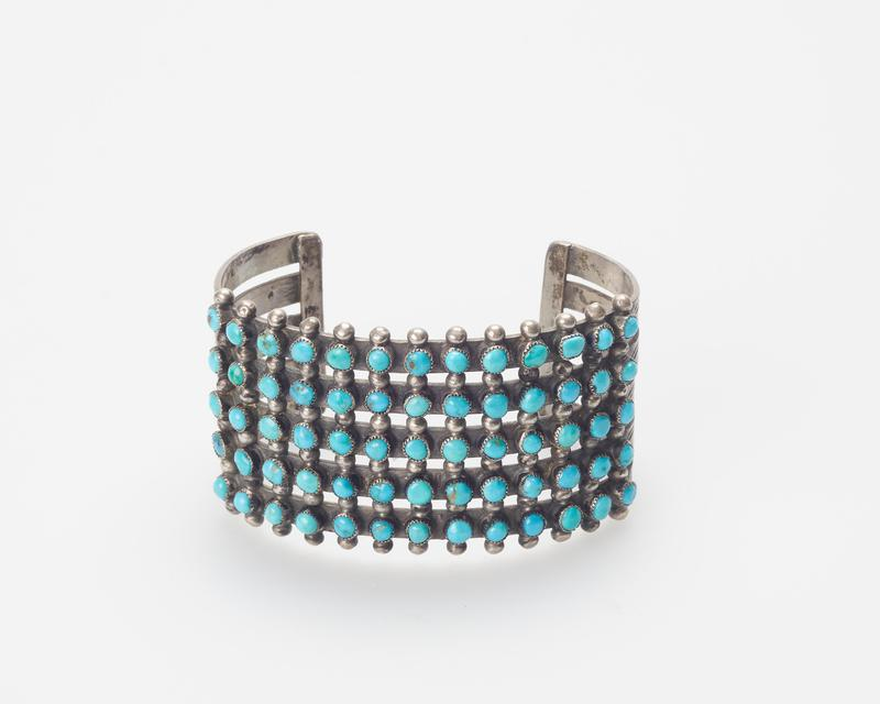 5 bands, silver drops and 65 turquoise in rows