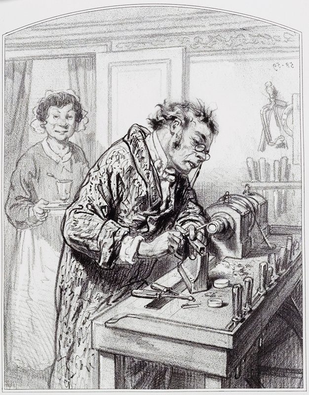 man wearing spectacles working on a wood-turning machine; maid at L carries a footed glass on a tray