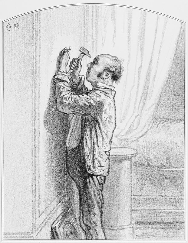 man in profile from PL, with shirt open and untucked, hammering a nail in a wall; picture leaning against wall at bottom
