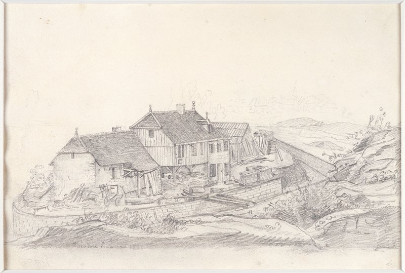 Sawmill in center with surrounding landscape