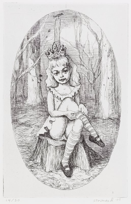 oval format; little girl with long, thick hair, wearing a crown, a sleeveless dress and Mary Jane shoes, seated on a tree stump, adjusting one of her striped knee-high stockings