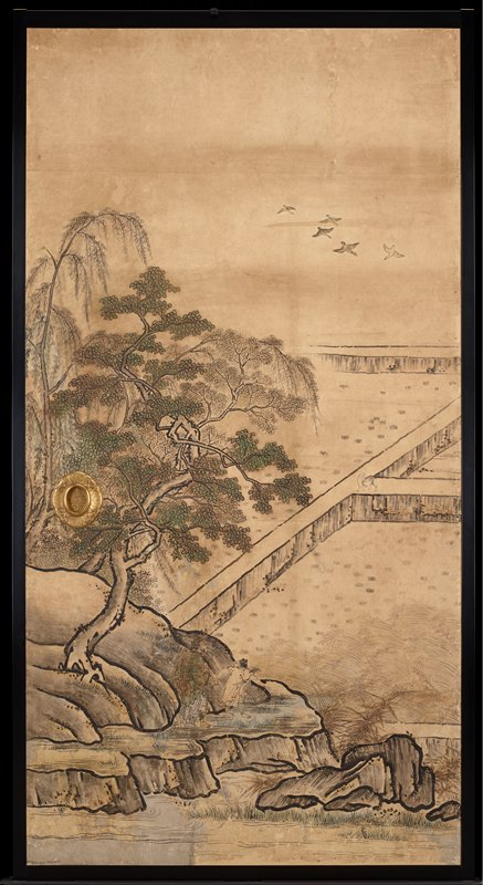 unsigned; from the Saga Palace, Kyoto; trees at left; birds in sky