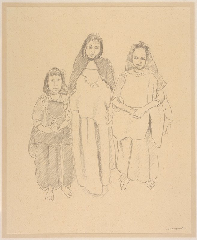 Three women of various heights in native garb