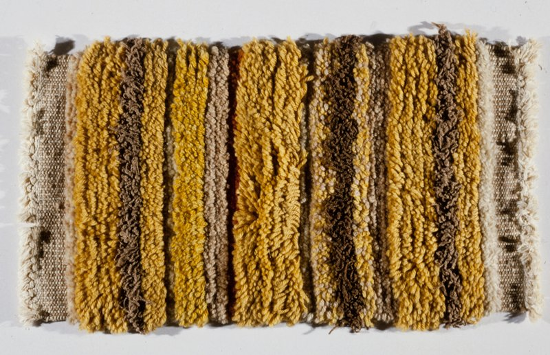 high and low pile, wool, high twisted wool in yellow, orange, brown and beige