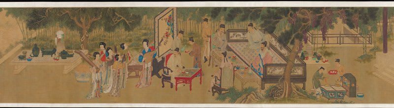 from right to left: figure with attendants in a garden near a pool with ducks; figures in an interior writing, reading and playing games; men picnicking, listening to female musicians; second building where two men listen to a third man playing a stringed instrument; brightly colored