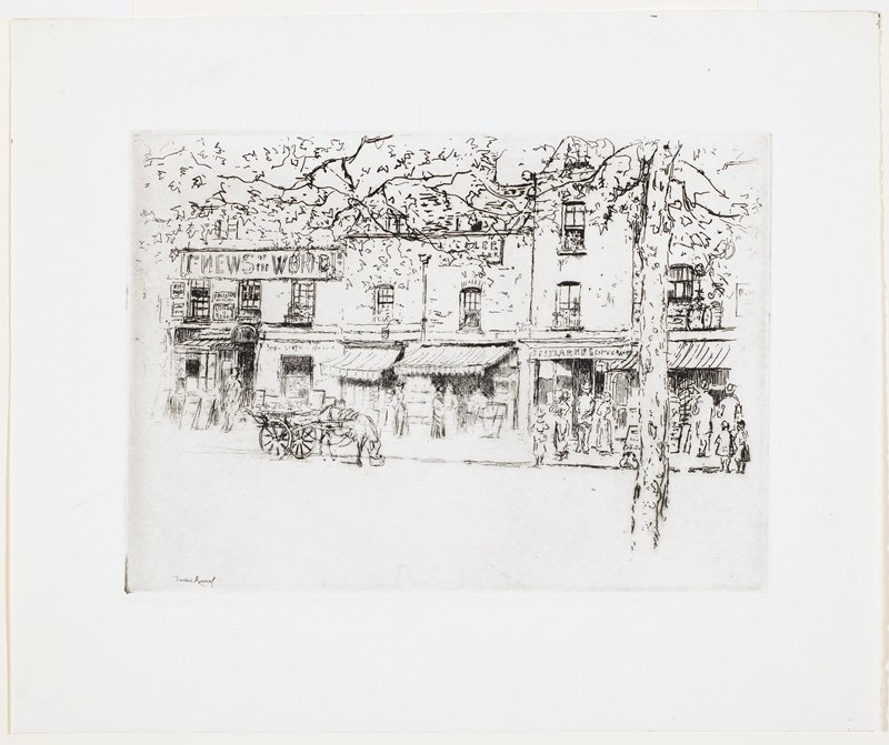 """view of storefronts; horse, eating, attached to carriage at left; small tree at right; figures on street; """"NEWS OF THE WORLD"""" sign at left; sketchy, unfinished style"""