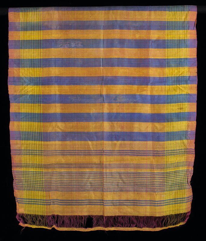 "finely woven with alternating blue and yellow stripes in various patterns and widths; extremely delicate 2-1/2"" pink warp float on each end"