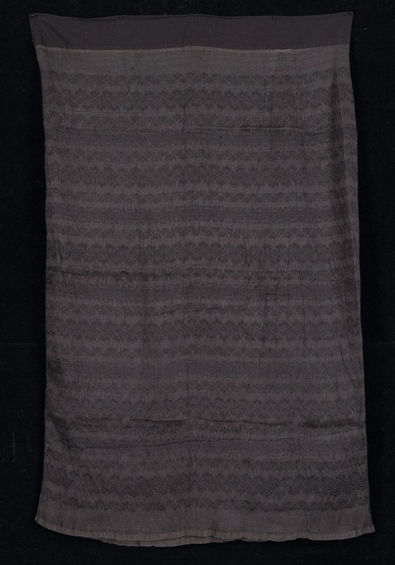 """Luntaya style; plain black with supplemental weft patterning in horizontal rows; at top, 2 1/2"""" band of black cotton"""