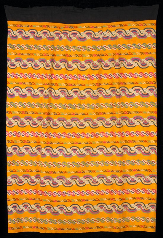 thick silk, Luntaya style with black waist band; wedding color (bright yellow) with multicolored horizontal woven patterns
