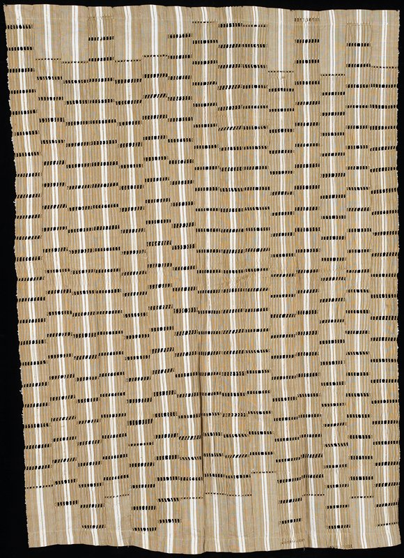 tan and white vertical stripe with gold supplemental warp; open weave and floats