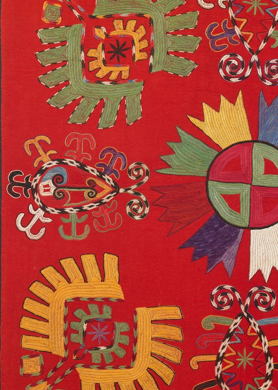 Red wool flannel ground with polychrome silk embroidery. The panel is presently hand stitched to a fabric-covered board. There is no edge treatment or binding; edges are turned under before mounting. the verso is not visible. Stitched to black wool fabric-covered wood strainer.