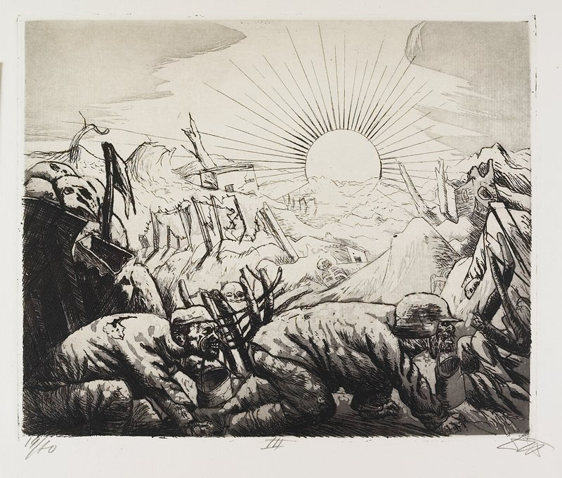 two men in foreground crawl with buckets carried in their mouths; brilliant sun lights up battlefield with skeletons