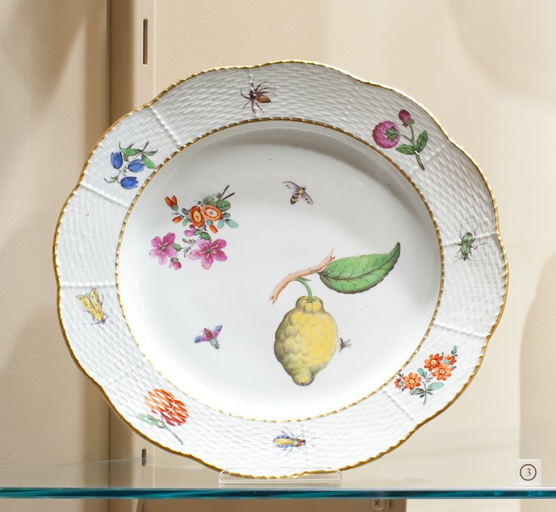 Basket pattern border with insects, fruit and flowers