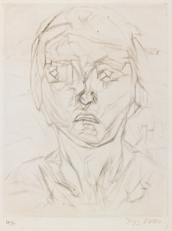 blocky, slightly Cubist style; head of a young girl with bobbed hair, frowning, looking toward PR; sketchy