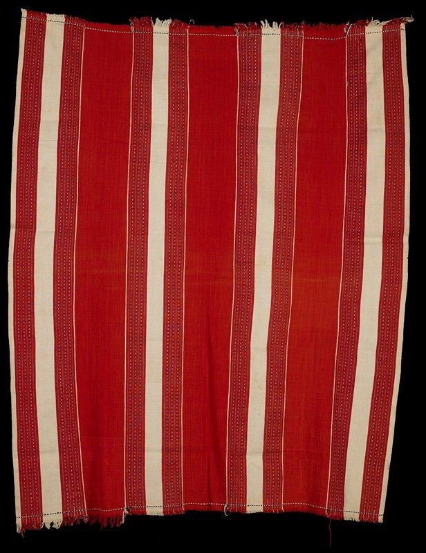 red and white stripes through the length, with black and white warp patterning and fringe