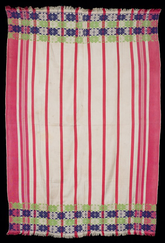 """two panels sewn together, in tight-woven wide and narrow vertical stripes (pink and white); both ends have 1"""" fringe; on each end are four horizontal woven float, floral pattern (green and blue)"""