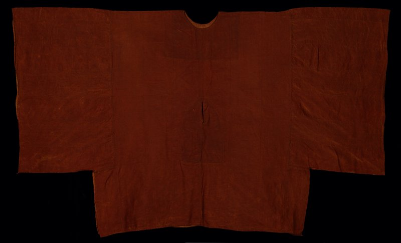 "rust plain weave; narrow 5"" bands hand laced together; horizontal sleeve bands, 19-1/2"", each side; round head opening; front slit, 4"" male opening; sleeves and lower edge hand-hemmed; head and male openings lined"