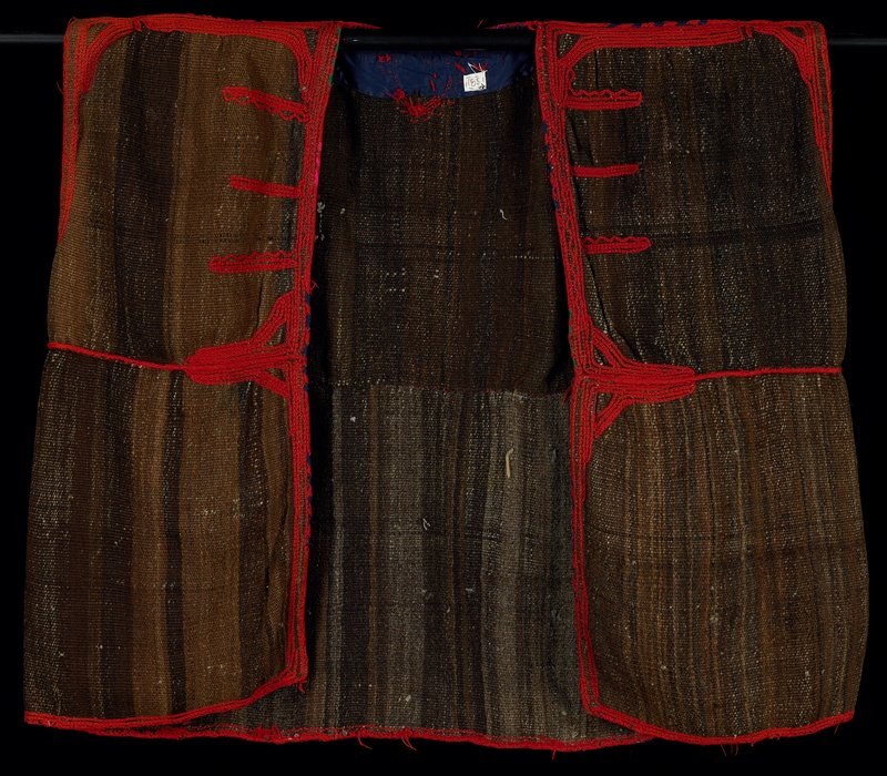 "large woman's jacket; brown ""tweed"" with red braided embroidery; sleeveless, unlined; wool; front panels do not meet"
