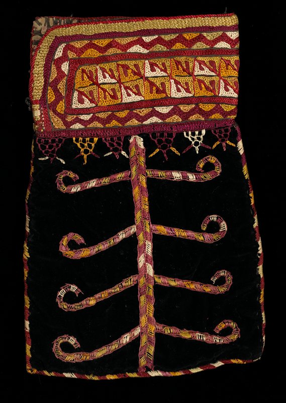 red, green, blue overall silk embroidery similar to chain stitch; three vertical designs separated by diamonds; thin braided strap at top ends with green and orange wool tassel and two white beads; embroidered through heavy brown cotton