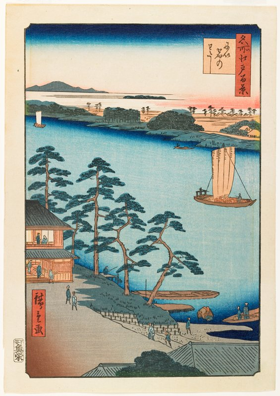 river with sailboats and rowboats; building with figures at L; other figures interspersed throughout; thin trees on near shoreline