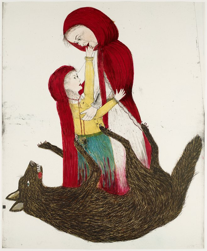 woman wearing white dress and red cloak with hood and girl wearing yellow blouse, blue skirt and red cloak with hood emerging from the belly of a dead brown wolf