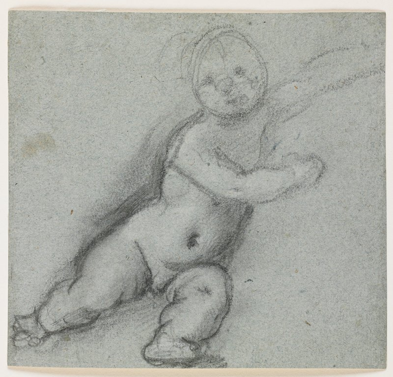 Lower body of putto defined; head and upper body sketchy; chubby legs and stomach