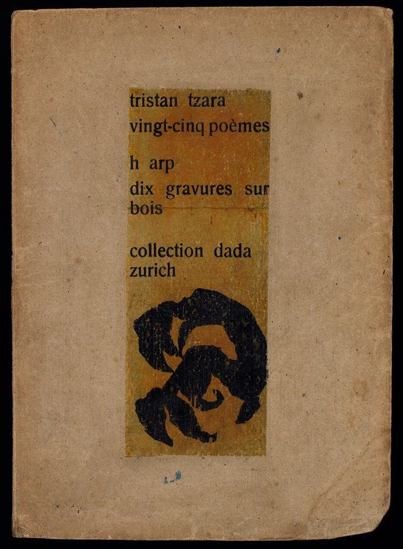 small book with cardboard covers, with printed cover design applied; printed poems illustrated with ten black and white abstract woodcuts
