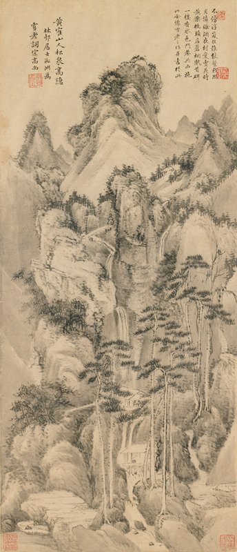 mountainous landscape with extremely tall trees in foreground; two figures in a building near bottom center; inscriptions in URC and ULC