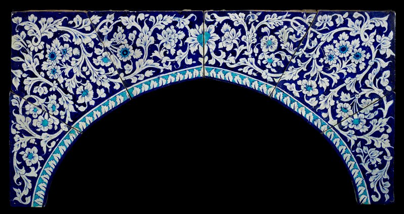 six underglazed-painted tiles with stylized flowers and leaves on scrolling vines; red earthenware with white slip and cobalt, turquoise and white design