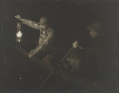 two men in a rowboat; man in back is rowing, man in front smoking pipe and holding a lantern
