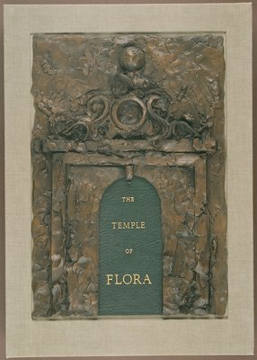 """Bound in boards with green goatskin spine and grey-green cloth sides; enclosed in a grey-green cloth box with inset bas-relief """"Flora's Temple Gate"""" by Jim Dine, cast in bonded bronze, on the lid.  Poetry by John Ashbery, Richard G. Barnes, Hart Crane, Robert Creeley, E. E. Cummings, Hilda Doolittle, Robert Graves, Thom Gunn, Robert Hass, Andrew Hoyem, Ronald Johnson, Denise Levertov, Josephine Miles, Frank O'Hara, Ron Padgett, Robert Pinsky, Sylvia Plath, Ezra Pound, Kenneth Rexroth, James Schuyler, Edith Sitwell, Wallace Stevens, Philip Whalen, Jonathan Williams, and William Carlos Williams"""