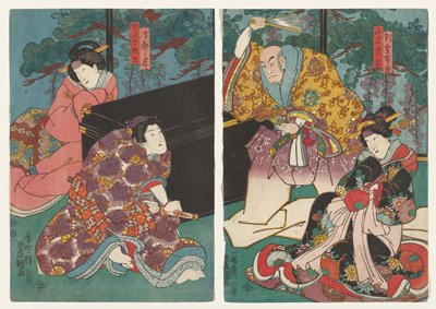 vertical oban diptych; young man at left wearing purple kimono with gold birds and flowers facing off a standing monk wearing a gold kimono with purple and green flowers, holding a tan above his head; two women look coyly at the scene--one in LRC wearing black kimono with multicolored flowers and one in ULQ wearing pink kimono; two rectangular cartouches with text on a, URQ right of center, and on b, URC; lines of text, round and oval cartouches of text, LLC, on each image; characters' names:  Besshitsu Fuji no kata (woman on right), Yamana So_zen (monk), Katsuro_ no kimi (young man), Kashizuki Hisao (woman on left)