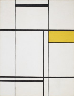 white ground with black horizontal and vertical lines with one rectangle of yellow; thin painted shadow frame